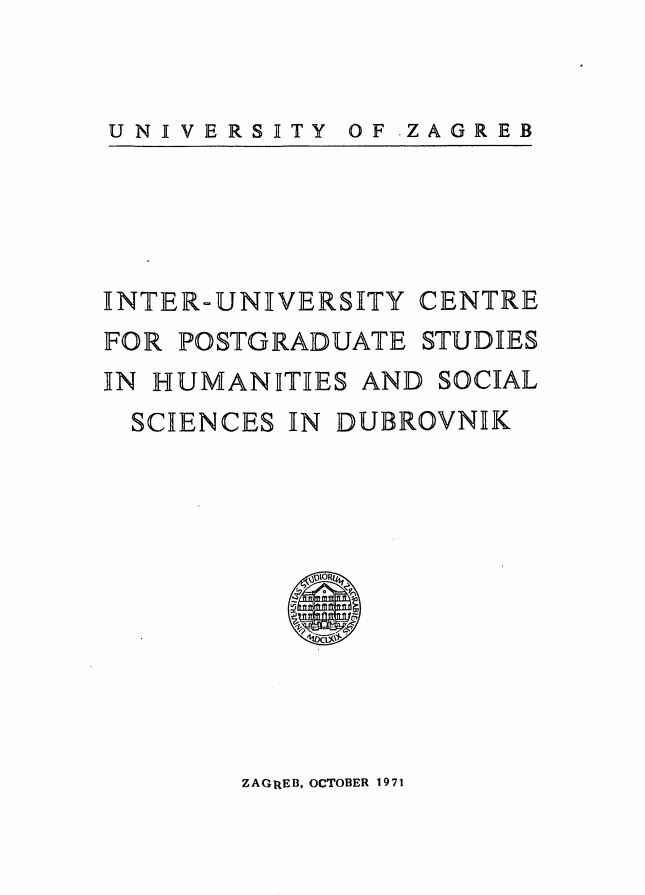 Inter-university centre for post-graduate studies in humanities and social sciences in Dubrovnik