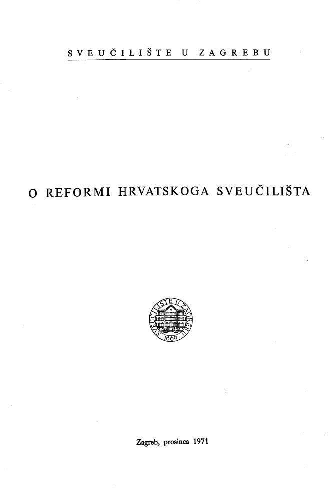 O reformi Hrvatskoga Sveučilišta