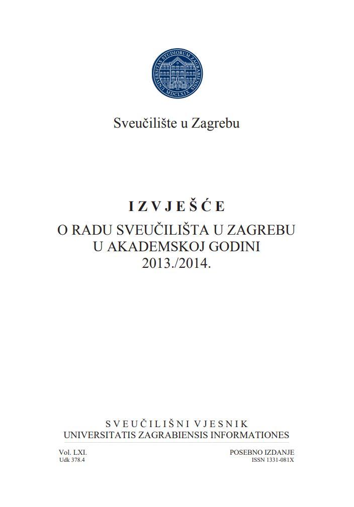 prikaz prve stranice dokumenta Izvješće o radu Sveučilišta u Zagrebu u akademskoj godini 2013./2014.