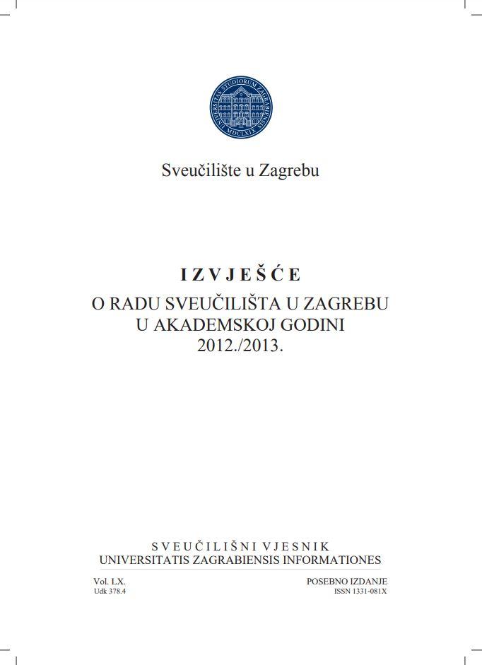 prikaz prve stranice dokumenta Izvješće o radu Sveučilišta u Zagrebu u akademskoj godini 2012./2013.