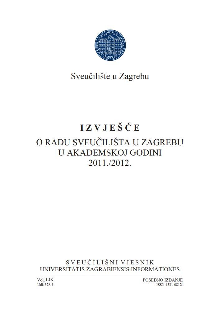 prikaz prve stranice dokumenta Izvješće o radu Sveučilišta u Zagrebu u akademskoj godini 2011./2012.