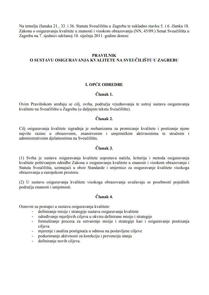 prikaz prve stranice dokumenta Pravilnik o sustavu osiguravanja kvalitete na Sveučilištu u Zagrebu