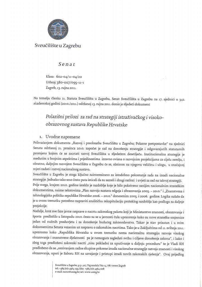 prikaz prve stranice dokumenta Polazišni prilozi za rad na strategiji istraživačkog i visoko-obrazovnog sustava Republike Hrvatske