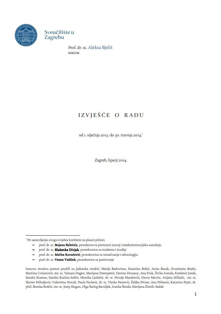 prikaz prve stranice dokumenta Izvješće o radu rektora od 1. siječnja 2013. do 30. travnja 2014.