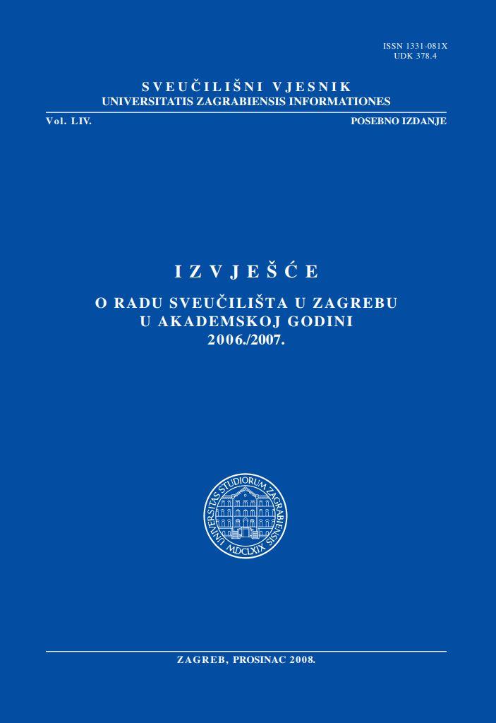prikaz prve stranice dokumenta Izvješće o radu Sveučilišta u Zagrebu u akademskoj godini 2006./2007.