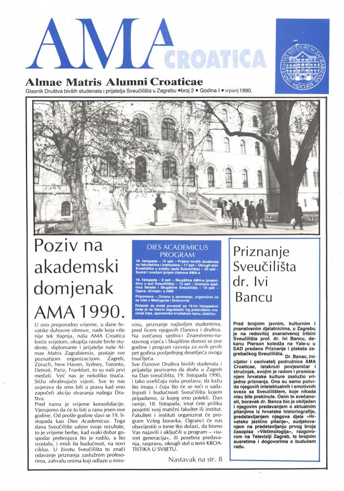 Glasnik Društava bivših studenata i prijatelja Sveučilišta u Zagrebu 2(1990)