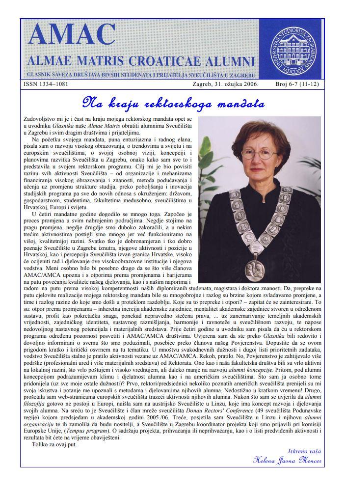 Glasnik Saveza društava bivših studenata i prijatelja Sveučilišta u Zagrebu 6-7(11-12), 2006